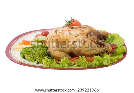 Roast chicken, isolated on white background - stock photo