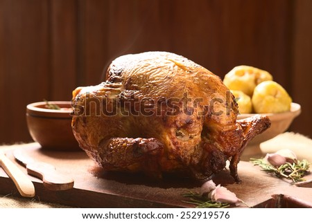 Roast Chicken on wooden board with spices, potatoes in the back, photographed with natural light (Selective Focus, Focus on the front of the breast)   - stock photo