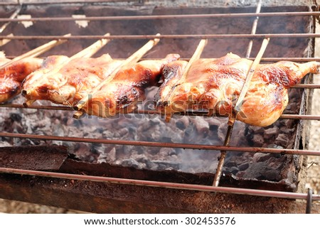 Roast chicken or Kai yang or ping gai is street food from the Lao people of Laos and Isan, but it is now commonly eaten throughout the whole of Thailand. street food style