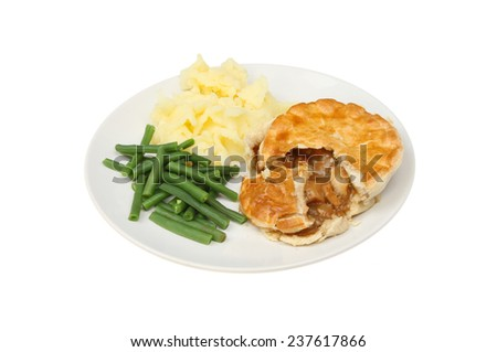 Roast chicken pie mashed potato and green beans on a plate isolated against white - stock photo
