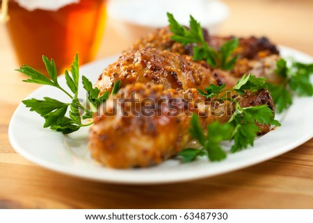Roast chicken with french mustard and honey
