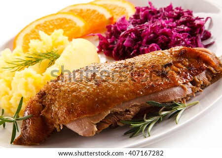 Roast duck fillet and vegetables