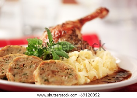 Roast Duck with Cabbage and  Bread  Dumplings - stock photo