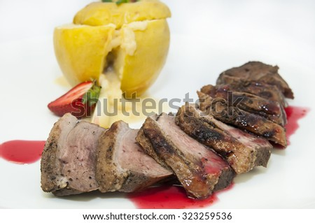roast goose breast with apple sauce on white plate - stock photo