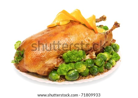 roast goose stuffed with buckwheat porridge, Brussels sprouts and broccoli isolated on white - stock photo