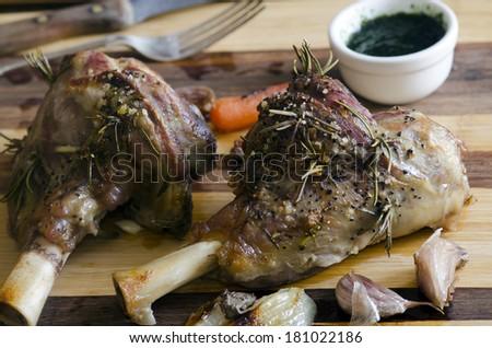 Roast leg of lamb - stock photo