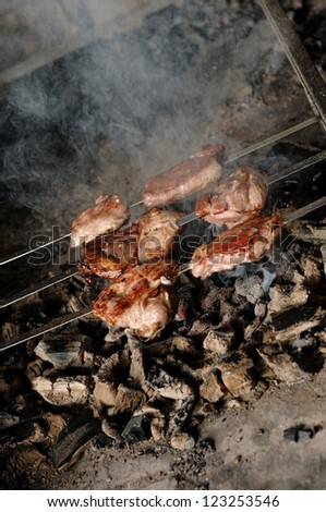 roast meat on the coals - stock photo