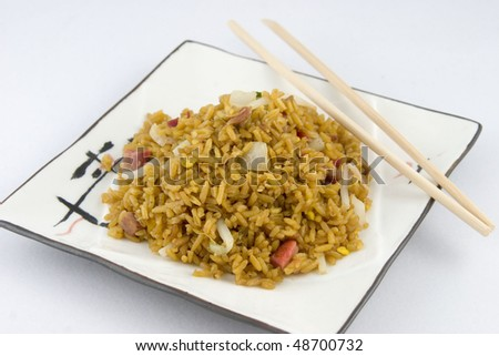 Roast Pork Fried Rice - stock photo