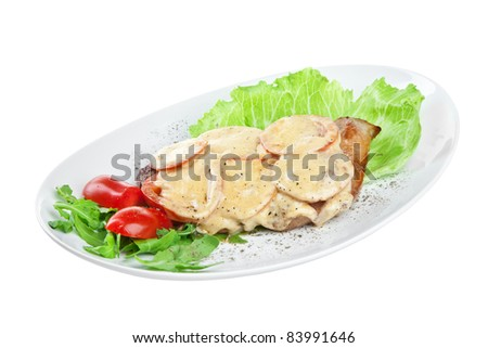 roast pork isolated on a white background