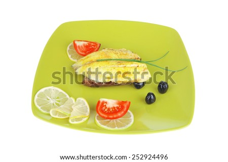 roast sea sole fish fillet served on bread with tomatoes,olives and chives on green plate isolated over white background - stock photo