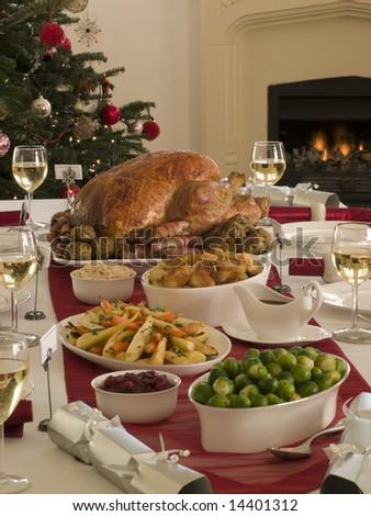Roast Turkey Christmas Dinner - stock photo