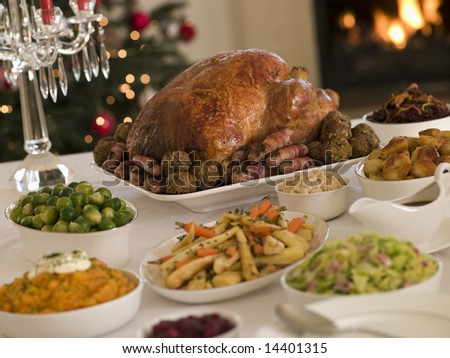 Roast Turkey Christmas Dinner - stock photo