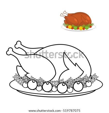 roast turkey thanksgiving coloring book fowl stock illustration