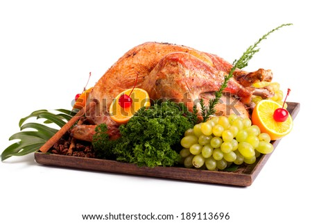 Roast Turkey on a white background. - stock photo