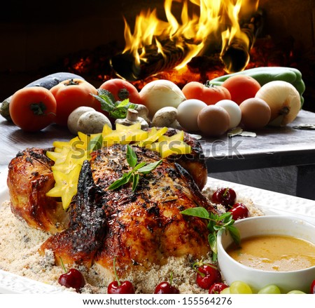roast turkey with vegetables - stock photo
