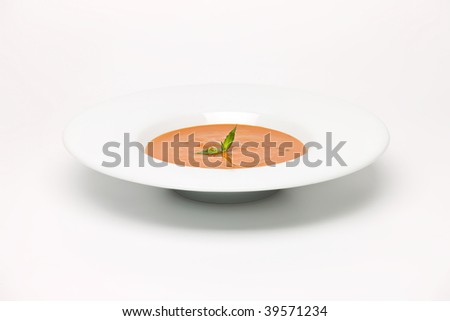 Roast Vegetable  Soup in white dish - stock photo