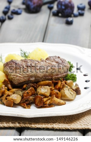 Roasted beef with mushrooms