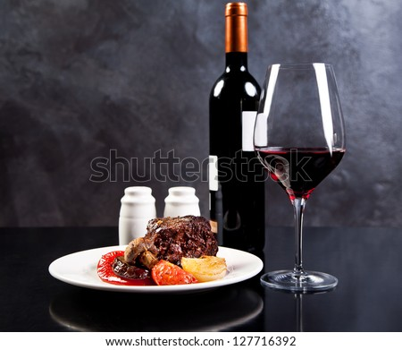 Roasted beef with pepper and grilled vegetables - stock photo