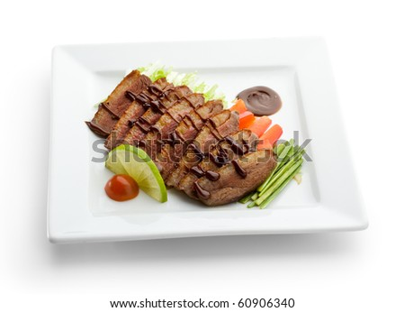 Roasted Breast in Sesame Sauce with Vegetables and Lime - stock photo