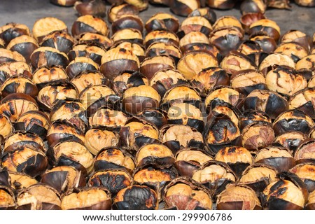 Roasted chestnuts for sale in the street of Istanbul. Turkey . Close up - stock photo
