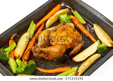 Roasted chicken and vegetables - stock photo