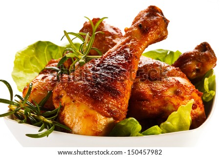 Roasted chicken legs - stock photo