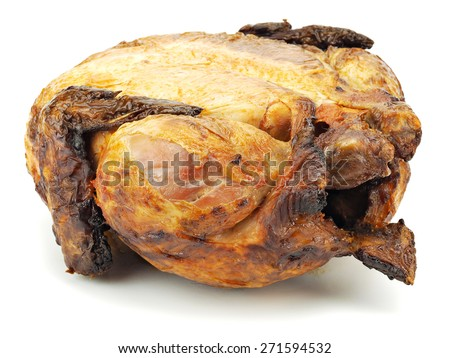 Roasted chicken on a white background - stock photo