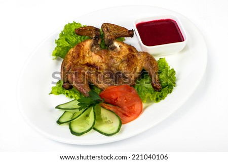 Roasted chicken seasoned with herbs