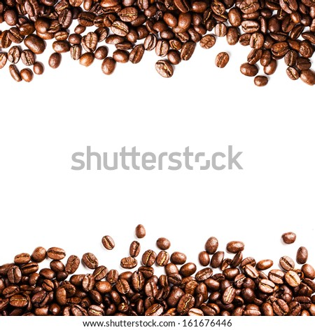 Roasted Coffee Bean background isolated on white background. Closeup of coffee beans texture. - stock photo