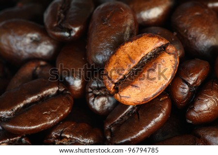 roasted coffee beans background close-up. - stock photo