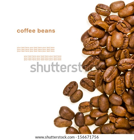 roasted coffee beans close-up scattered  isolated on white background - stock photo