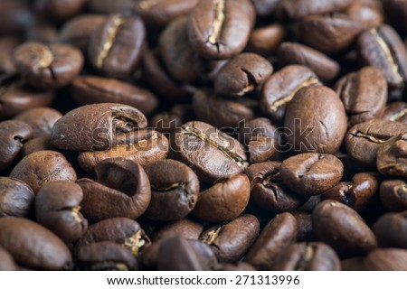 roasted coffee beans closed up, can be used as a background