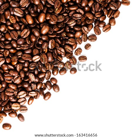 Roasted coffee beans frame isolated on white may use as background or texture (with easy removable sample text) - stock photo