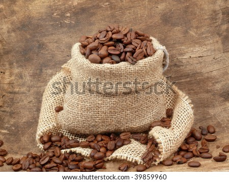 roasted coffee beans in the bag