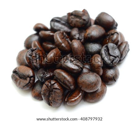 roasted coffee beans isolated in white background - stock photo