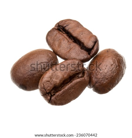 roasted coffee beans isolated in white background cutout - stock photo