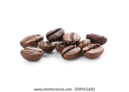 Roasted coffee beans isolated on a white - stock photo