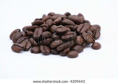roasted coffee beans isolated on white - stock photo