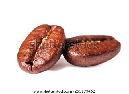 Roasted Coffee Beans isolated on white background with shadow, Macro. Soft focus. - stock photo