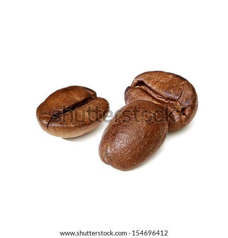 Roasted coffee beans on white background - stock photo