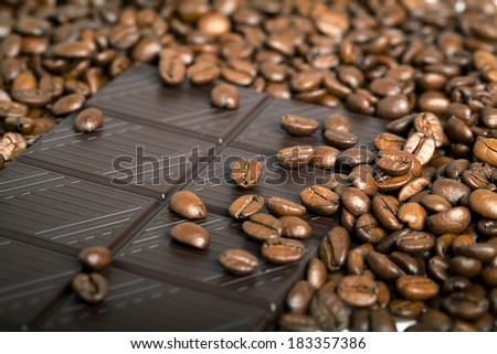 roasted coffee beans with Chocolate, can be used as a background - stock photo