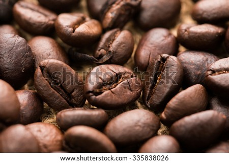 Roasted coffee been close up. - stock photo