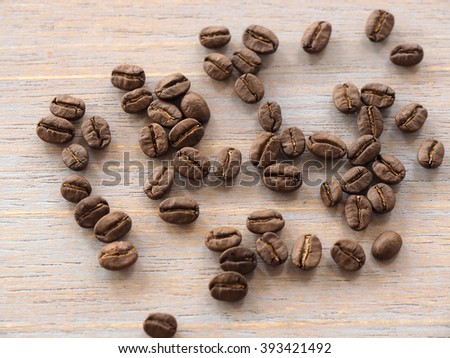 Roasted coffee crop on wooden, background texture