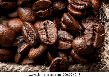 Roasted coffee on sacking