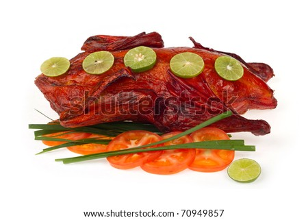 Roasted duck with vegetable on white background. - stock photo