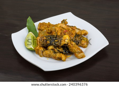 Roasted eel with ginger and lemongrass sauce - stock photo