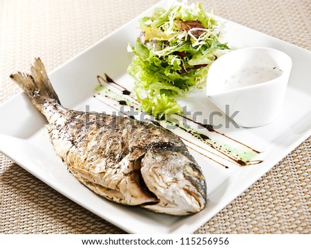 roasted fish with salad and souse - stock photo
