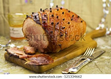 Roasted ham with glaze - stock photo
