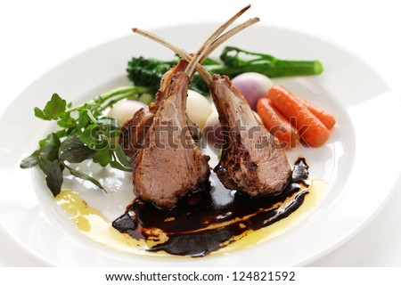 roasted lamb rib chops - stock photo