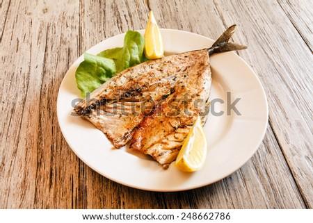 roasted mackerel - stock photo